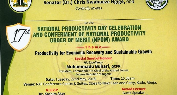 17th National Productivity Day Celebration and Conferment of National Productivity Order of Merit (NPOM) Award