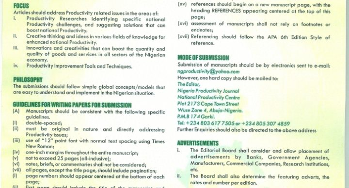 Nigeria Productivity Journal-Call for Papers