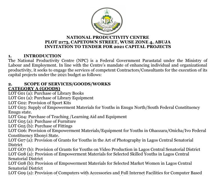 INVITATION TO TENDER FOR 2021 CAPITAL PROJECTS