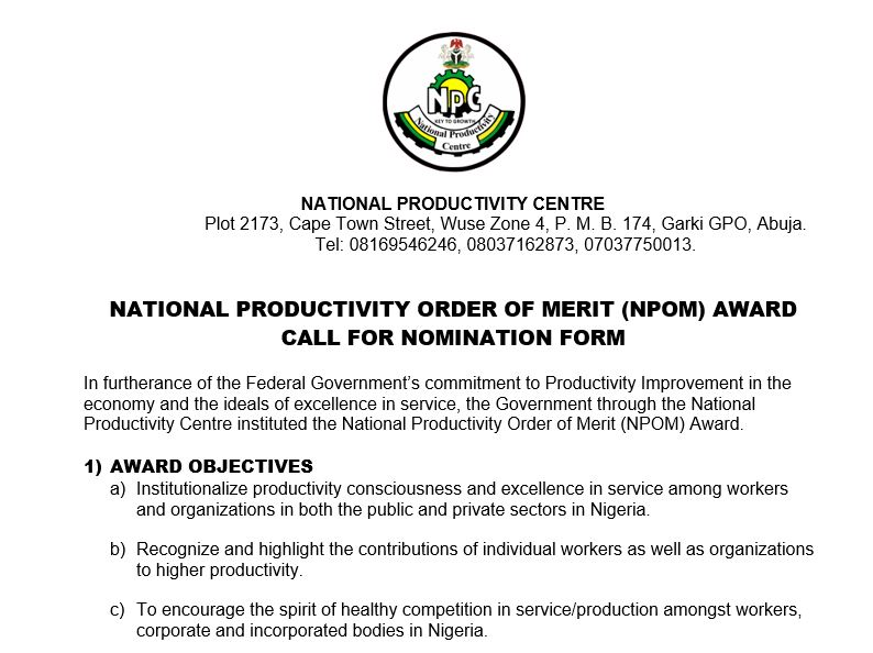 NATIONAL PRODUCTIVITY ORDER OF MERIT (NPOM) AWARD CALL FOR NOMINATION FORM